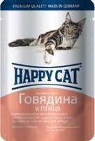 Happy Cat Pouches для кошек Говядина и птица (Германия)