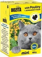 Bozita Cat mini Кусочки в желе для кошек с домашней птицей